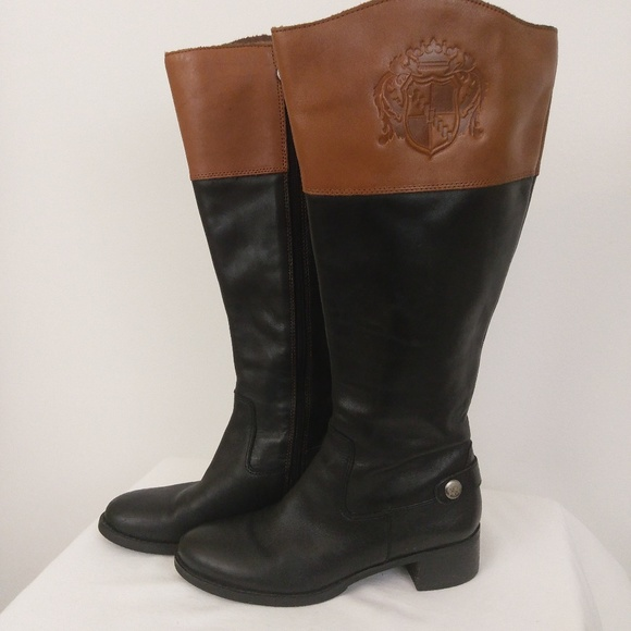 cheap for discount reasonable price save off Franco Sarto Chipper Riding Boots Black Brown 5.5M